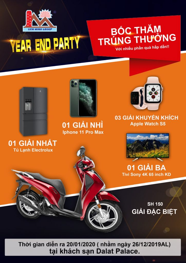 """Nhiều phần quà tặng hấp dẫn đang chờ đón quý quan khách trong chương trình rút thăm trúng thưởng đêm dạ tiệc Lien Minh Group """" Year End Party 2019"""""""